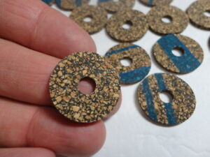 """14 Cork Rings Brown Rubberized 3/32"""" x 1"""" x 1/4"""" Bore make a tool handle"""