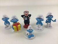 Peyo Smurfs Mini Figures Toppers 6pc Lot Gargamel Brainy 2013 Baby Jokey Blue
