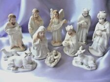 "Nativity Set 11 Figure.  3.5"" tallest figure. Antiqued effect cream resin, boxed"