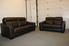 F.V. CRESSIDA BROWN LEATHER 3 SEATER SOFA BED & 2 SEATER STANDARD SOFA