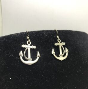 Silver tone anchor earrings vintage costume jewellery sailor martime jewelery