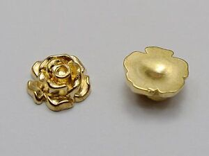 100 Gold Tone Metallic Acrylic Flatback Rose Flower Studs 10mm No Hole Cabochon