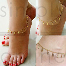 Elegant Gold Plated Anklet With Leaf Charms Ankle Bracelet Chain Jewelry