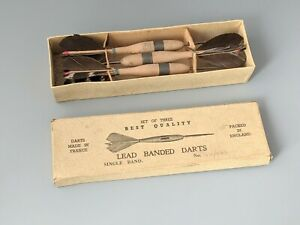 Vintage Set of Darts Wood Barrels Lead Banded Made In France With Box