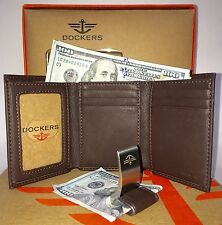 Dockers Men's Trifold Leather Wallet w/ Metal Money Clip 2 In One Gift Set NEW
