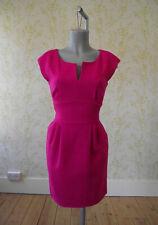 HOBBS fuchsia pink 100% wool tailored pencil dress UK 10 worn once!