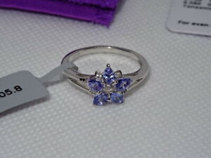 #197 Gemporia Sterling Silver Tanzanite & White Zircon Ring & COA Size Q