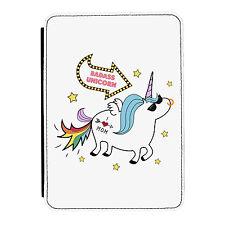 Badass Unicorn Funny Animal Rainbow iPad Mini 1 2 3 PU Leather Flip Case Cover