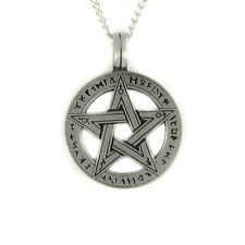 """Runic Pentacle Pentagram Rune Pagan Wiccan Gothic Pewter Pendant on 18"""" Necklace"""