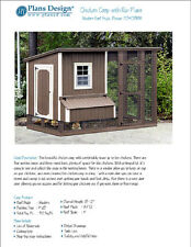 Chicken Coop / Hen House 4 ft x 8 ft Modern Roof Style Project Plans, 70408RM