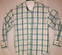 Wrangler Western Mens Shirt Size L White/Green Plaid Long Sleeve Button Down (C)