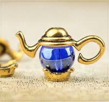 6 Sets Teekanne Teepott Perlkappen Zierperlen Endkappen golden Perlrahmen DIY