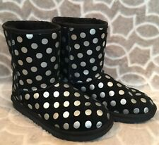 Uggs Girls Size 6 Classic Short Black Metallic Silver Polka Dot Boots 1093813k