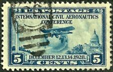 sc#650 airplane globe 1928 us/usa stamp used xf gem