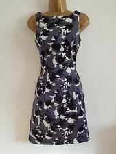 Ex WAREHOUSE Grey Floral Print Fit & Flared Shift Dress Occasion Wedding Party