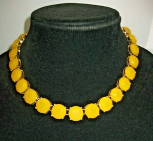 """J Crew Faux Yellow Citrine Faceted """"Stone"""" Necklace 16"""" Signed Goldtone Metal"""