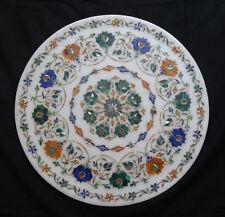 "15"" Marble Marquetry Plate Semi Precious Inlaid Stones Pietra Dura Wedding Gifts"