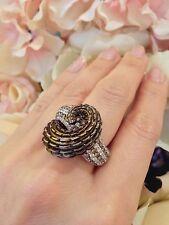 2.93CT Champagne & White Diamond Alligator Ring 18K Rose Gold - HM1338