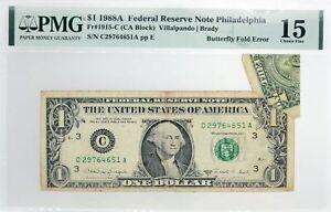 Series Of 1988 A $1 FRN Philadelphia Fr#1915-C Butterfly Fold Error Note PMG Ch