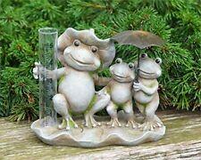 "Audrey's Resin Frogs with Unbrella Rain Gauge, 7"" Outdoor Garden Lawn Figurine"