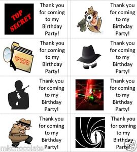 40 x Personalised Spy missions/secret agent labels/stickers/party/sweet/bag/s