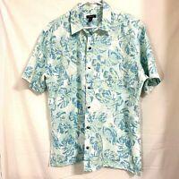 Van Heusen Mens Blue Green Hawaiian Leaves Camp Shirt Size L (16-16-1/2)