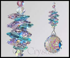 40mm Crystal AB Ball Suncatcher made with Swarovski Antique Green & Pink