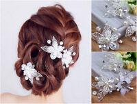 Haarspange Schmetterling Hochzeit Braut Tiara Perlen Strass Haargesteck Diadem
