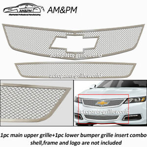 Fits 2014-2020 Chevy Impala Stainless Steel Bolt Over Mesh Grille Combo Insert