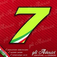 Adesivo Stickers NUMERO 7 moto auto cross gara Verde Acido Kawa & Tricolore 5 cm