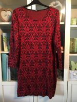 "HH33 George Plus 18/20/22 Xmas Red&Black Lace Look 38""Long Jumper Dress"