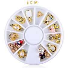 14 Pcs 3D Nail Art DIY Gold Flower Ring Decoration Alloy Pearl Jewelry + Wheel