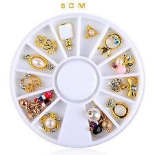 14 Pcs 3D Nail Art Gold Flower Ring Decoration Alloy Pearl Rhinestone Jewelry