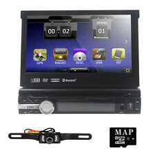 "Single 1DIN 7""HD Flip Out GPS Navigation Car Stereo DVD Player Bluetooth+Camera"