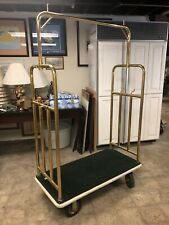Bellhop Trolley Hotel Brass Luggage Cart Dark Green And Tan Colors Available