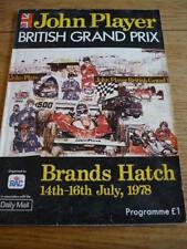 BRITISH GRAND PRIX 1978 BRANDS HATCH PROGRAMME jm