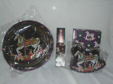 "Vintage Carousel Horse Round 13"" Metal Serving Tray ,Cookie Tin and Bookmark Pin"