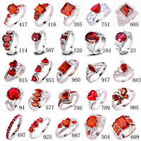 Garnet Ruby Spinel Pink Tourmaline Gemstone Silver Ring Size 6 7 8 9 10 11 12 13