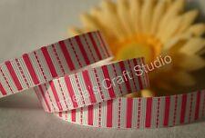 "1 Metre PINK / WHITE Striped 16mm (5/8"") Grosgrain Ribbon - Hair Bow Sew Trim"