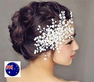 Women Party Prom dance headpiece Bride wedding Pearl Comb hair Head accessory