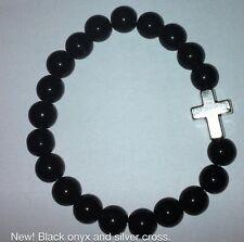 Ladies Black Onyx & Silver Cross Crucifix Bracelet -  Religious / Goth / Fashion