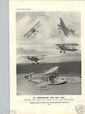 1932 PAPER AD Airplane Hawker Biplane Fury Nimrod Hart Iris Osprey RAF Seaplane