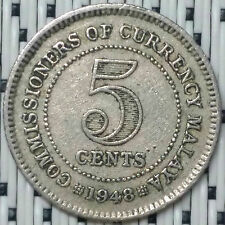 *GOOD Grade* 1948 - Malaya - 5 Cents George VI #CBQU