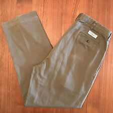 Polo Ralph Lauren Andrew Khaki Chino Pants Green Cotton Pleated size 35 X 31