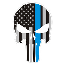 The Punisher American Flag Thin Blue Line Police Sticker Decal #202 Made in USA