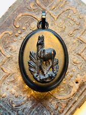 Antique Vulcanite Locket with Deer Stag motif. Victorian mourning jewelry.