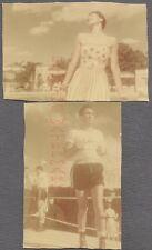 Vintage Color Snapshot Photos Pretty Girl & Boxing Man 687710