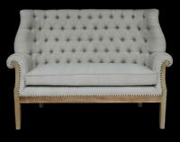 French Country Farmhouse Tufted Linen Fabric High Back Settee Banquette Loveseat