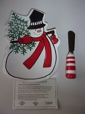 Fitz and Floyd Holiday Home Snowman Snack Plate with Spreader Nib