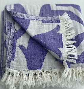 Double Sided Oversized Tulip Pattern Turkish cotton towel, Purple